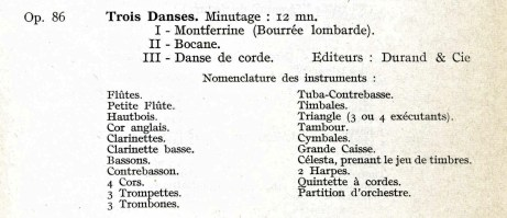Florent Schmitt Trois danses instrumentation