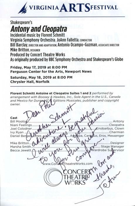 Shakespeare Schmitt Antony & Cleopatra Virginia Arts Festival JoAnn Falletta Virginia Symphony