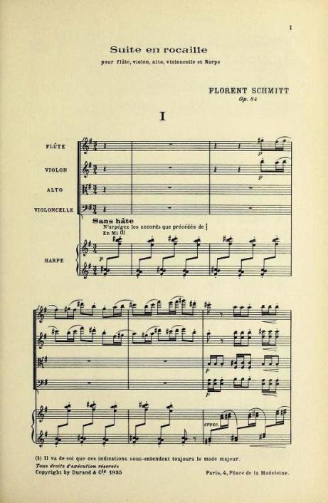 Florent Schmitt Suite en rocaille score page 1
