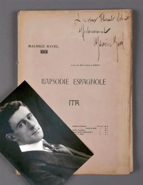 Maurice Ravel Rapsodie Espagnole score inscribed to Florent Schmitt