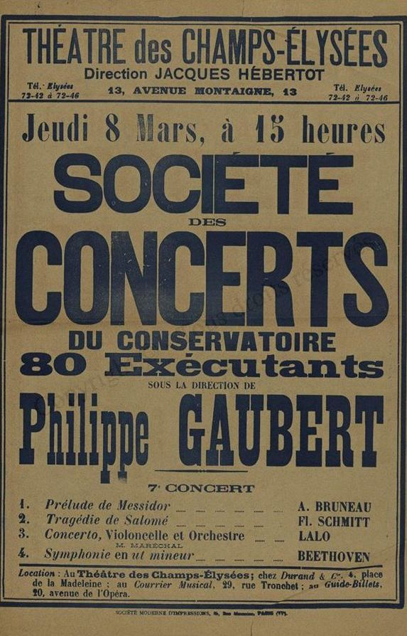 Philippe Gaubert concert program Bruneau Schmitt Lalo Beethoven Paris Conservatoire