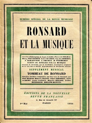 La Revue musical Tombeau de Ronsard May 1924