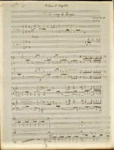 Florent Schmitt Antoine et Cleopatre Le Camp de Pompee manuscript page