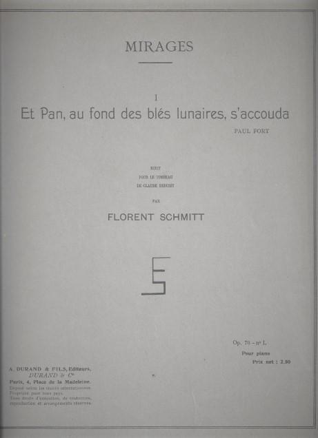 Florent Schmitt Et Pan score cover