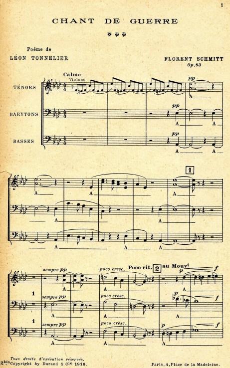 Florent Schmitt Chant de guerre choral parts