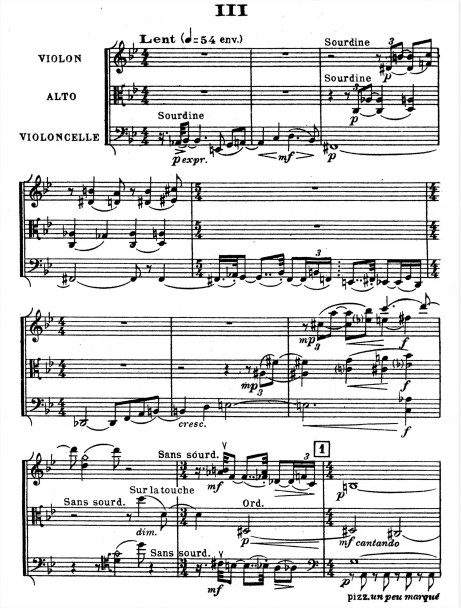 Florent Schmitt Trio a cordes score Movement 3
