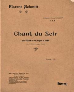 Florent Schmitt Chant du soir score cover