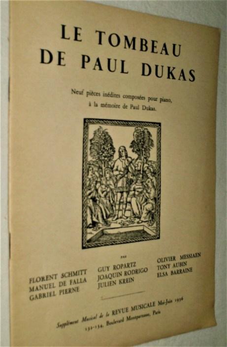 Le Tombeau de Paul Dukas Revue Musicale Supplement 1936