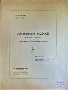 Florent Schmitt Fonctionnaire MCMXII score cover