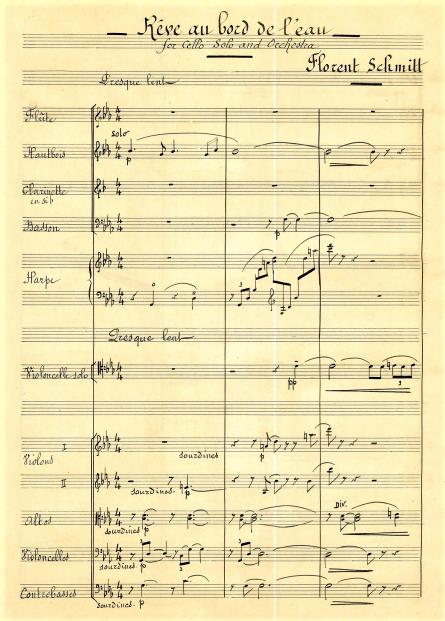 Florent Schmitt Reve au bord de l'eau orchestral version score page