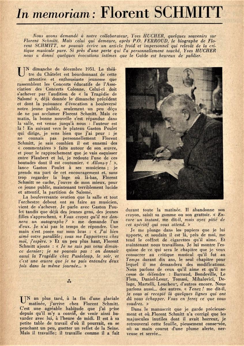 Florent Schmitt Tribute Yves Hucher Guide du Concert et du Disque 1958 Page 1
