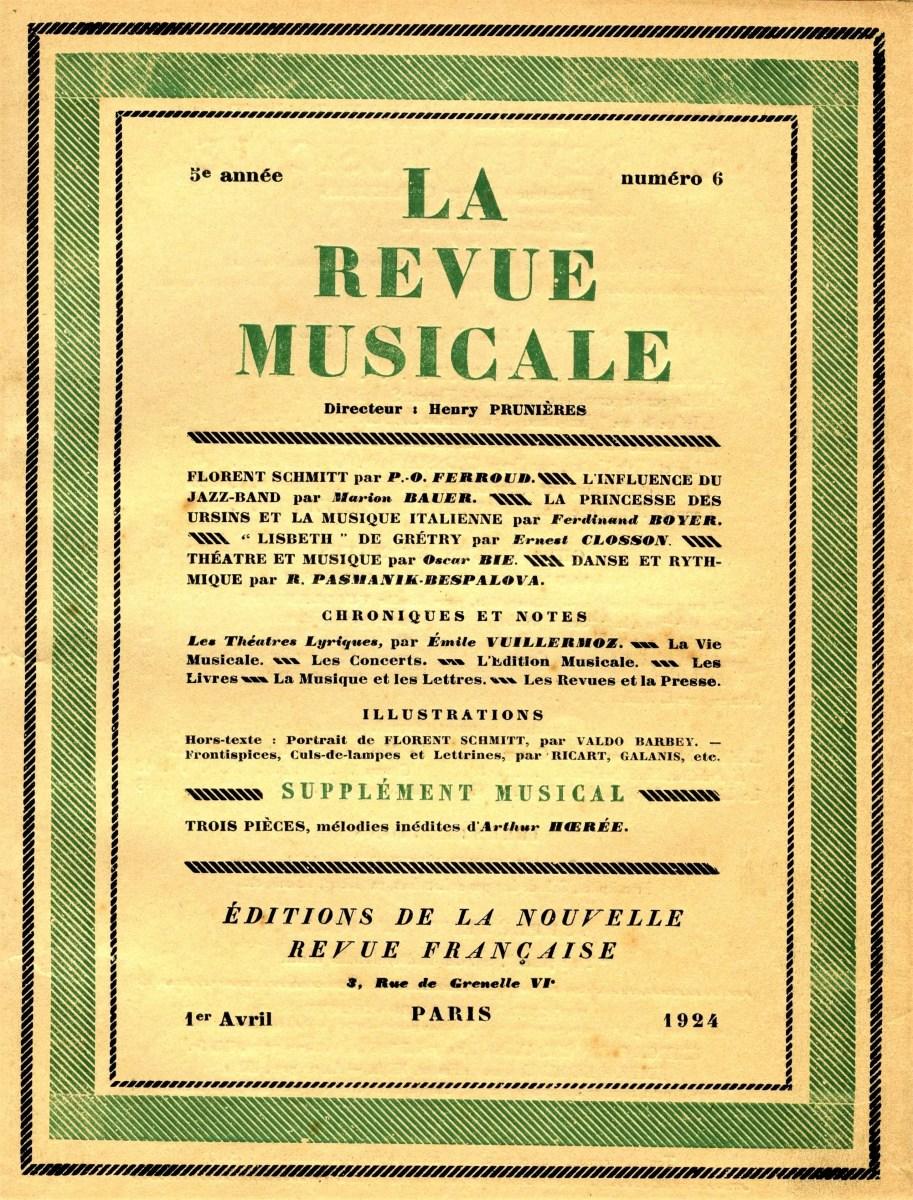 La Revue musicale April 1824 Florent Schmitt Pierre-Octave Ferroud