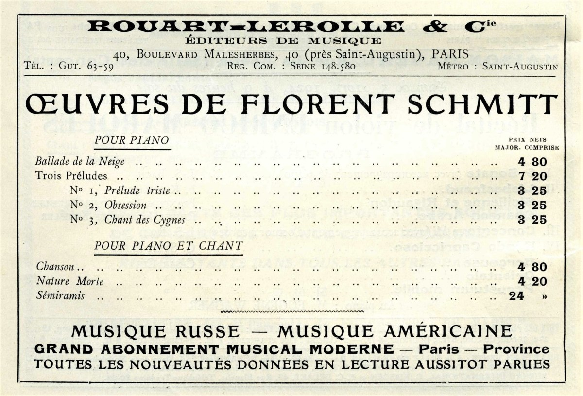 Rouart-Lerolle advertisement Florent Schmitt April 1924
