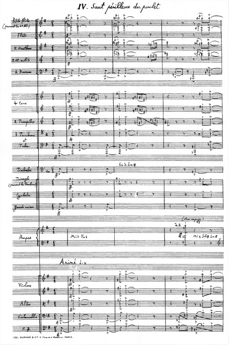 Florent Schmitt Scenes de la vie moyenne Saut perilleux du poulet orchestral manuscript first page