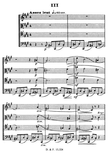 Florent Schmitt Saxophone Quartet score page III Assez lent