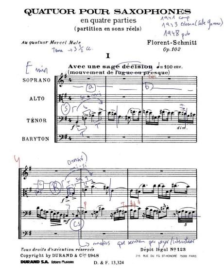 Florent Schmitt Saxophone Quartet score I avec une sage decision