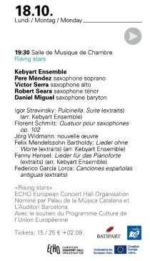 Kebyart Ensemble Luxembourg concert program 2021