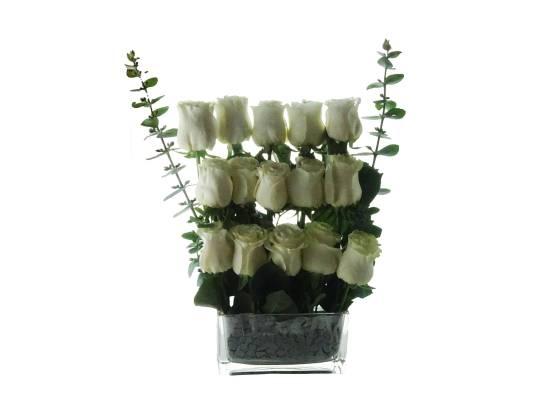 Florero Rectangular de Rosas Blancas
