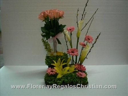 E20 - Arreglo floral surtido con gerberas y lilis