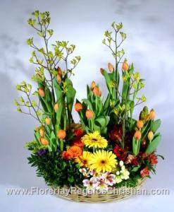 Arreglo con gerberas y tulipanes P1