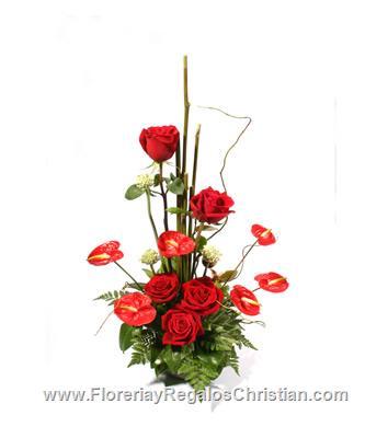 Rosas y anthurios - E37