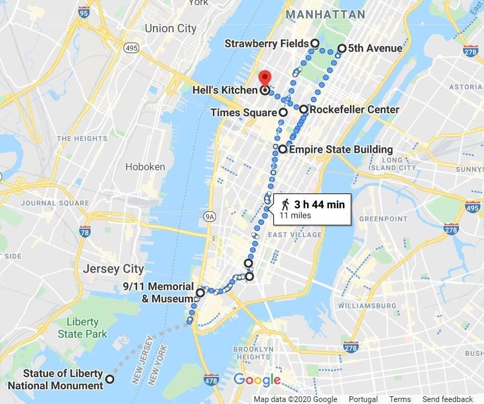 Things to do in New York map