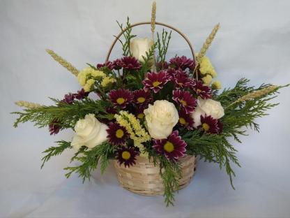 Cesto margaritas y rosas blancas Flores online vigo