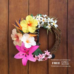 corona tropical de flores de papel, flores para siempre, flores de papel crepe