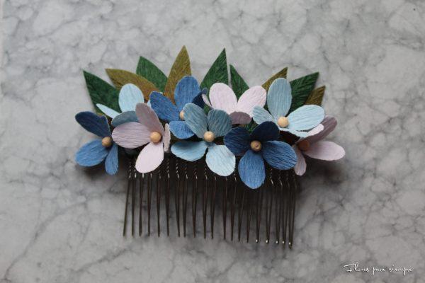 peineta flores azules