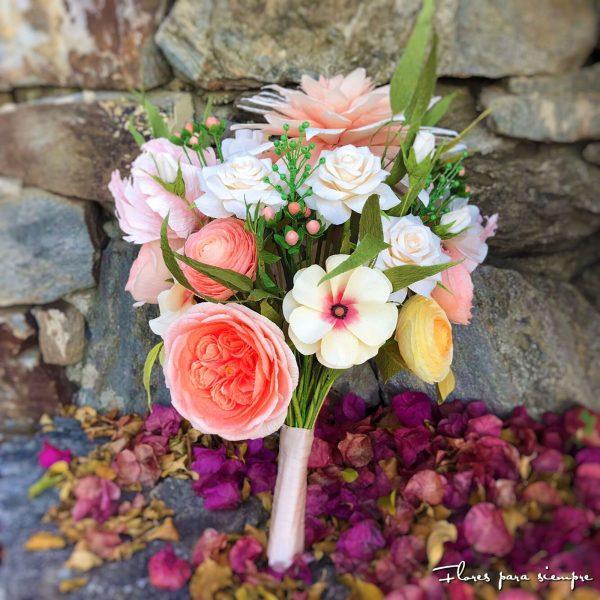 ramo de novia con rosas inglesas