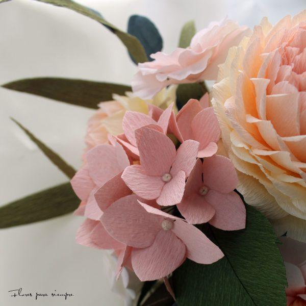 hortensias de papel crepe