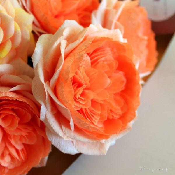 rosa inglesa coral de papel crepe