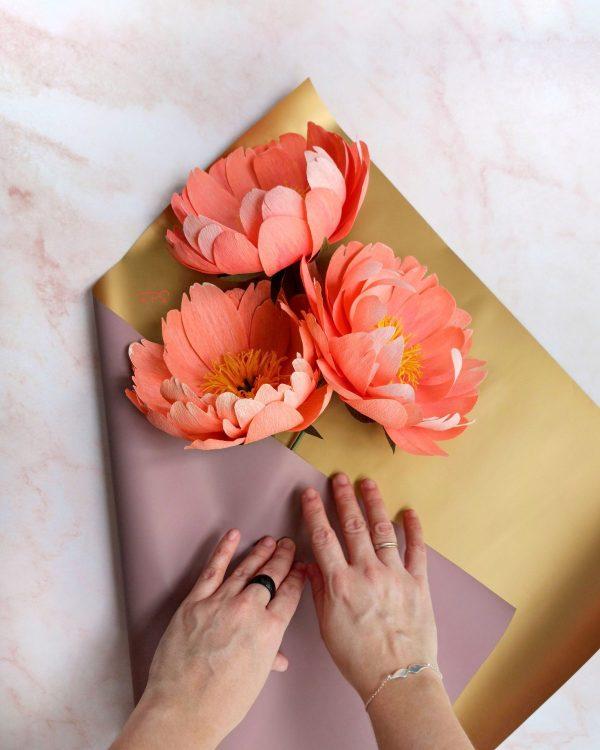 flores para siempre, flores de papel crepe, ramos de papel, ramos de novia de papel, peonías de papel