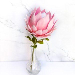king protea de papel crepé, flores para siempre