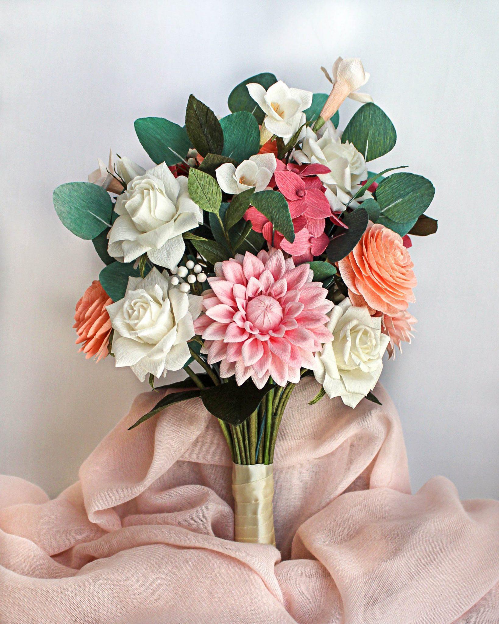 ramo personalizado de papel crepé, flores para siempre, flores de papel crepe