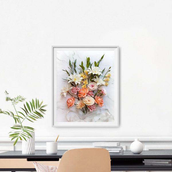 imprimible descargable digital, flores para siempre, flores de papel crepé