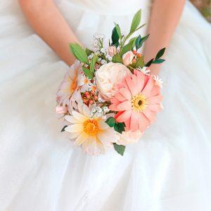 Ramo de gerberas hecho a mano, ramo de gerberas, flores de papel crepé, ramo de novia de papel, ramo realista, flores para siempre