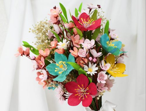 ramo colorido de papel, ramo de novia de papel, flores de papel, flores de papel crepé, flores para siempre, ramo de novia para siempre, flores que duran para siempre