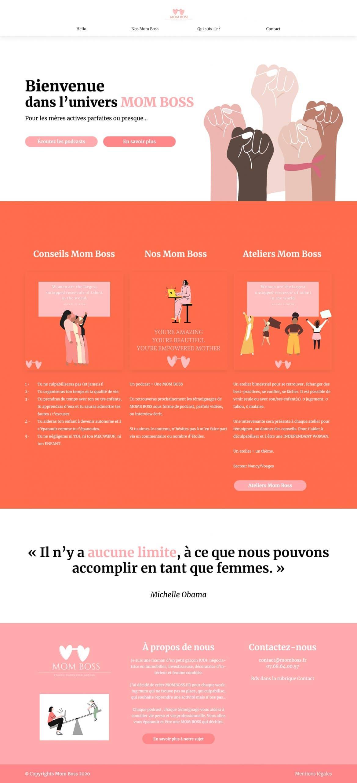 Création du site Internet de l'association Mom Boss