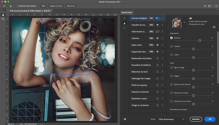 Neural filters : l'intelligence artificielle dans photoshop 2021