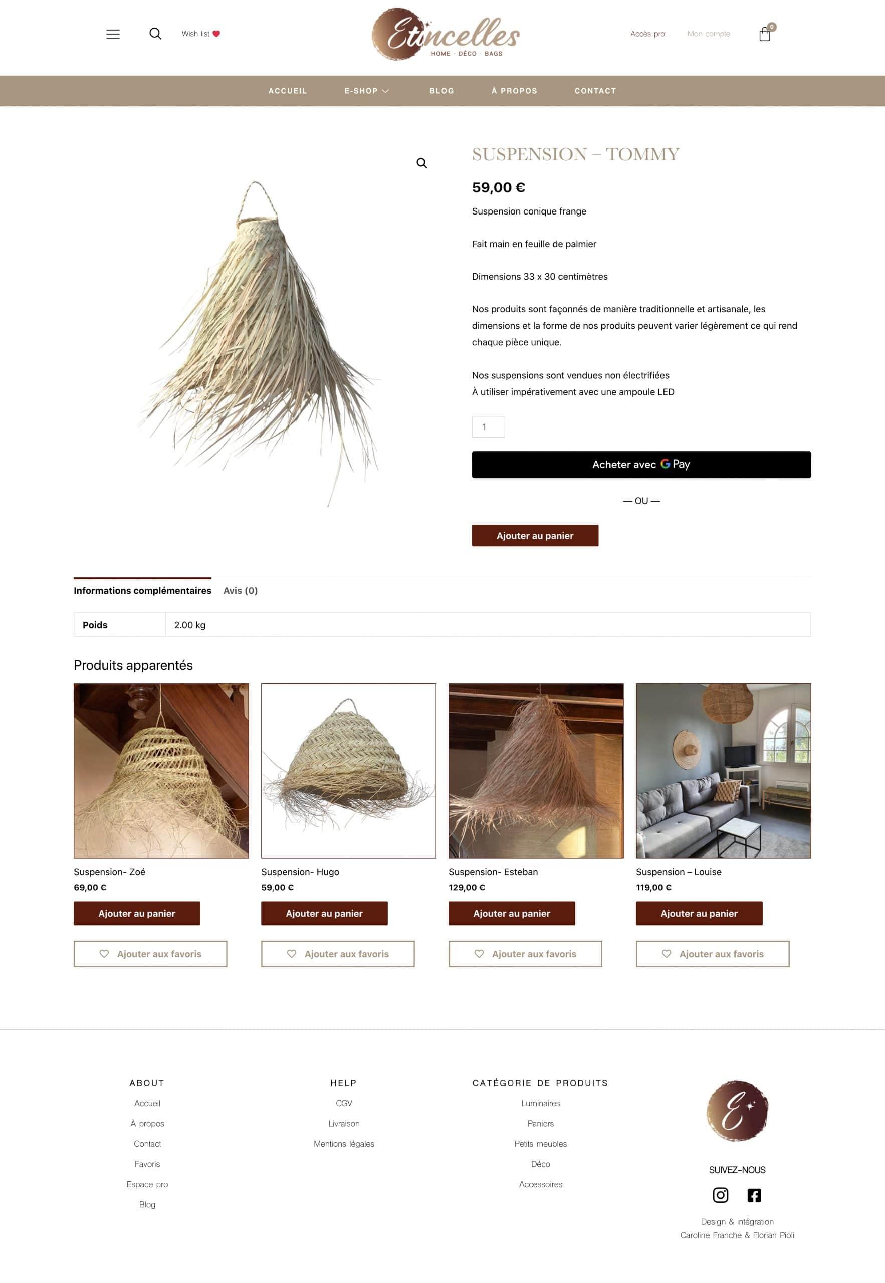 Etincelles shop : création de site ecommerce par Florian PIOLI