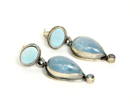 Renee Davis Aqua Opal Topaz and Sterling Silver Earrings