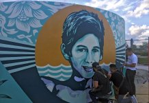 Shepard Fairey Paints Mural for Perry J. Cohen Foundation