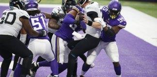 Vikings outlast error-prone Jags 27-24 on Bailey's OT kick