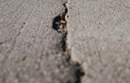 Closeup of cracked concrete