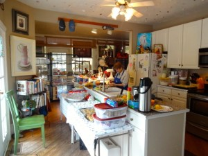 Polly hard at work in the kitchen making the blueberry scones and lemon curd for Polly's Tea Room