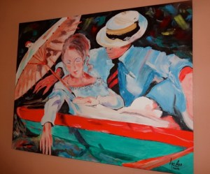 Painting by Art Cappuccio on display at River Lily Inn
