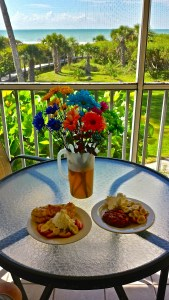 Breakfast on the Balcony at Tortuga Beach Club - Fruit, Danish & Fresh Flowers!
