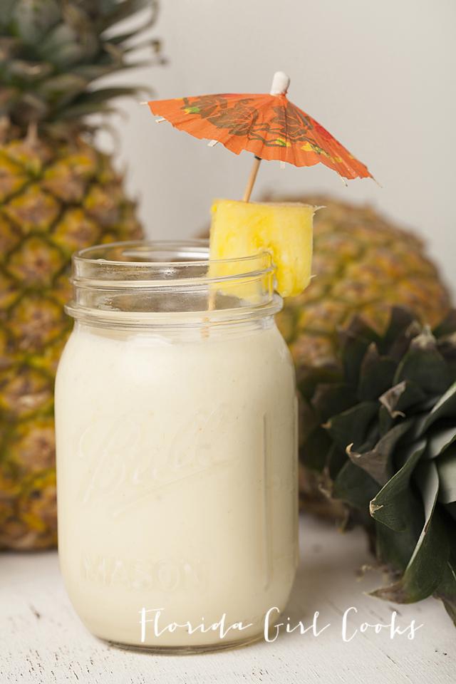 CREAMY PIÑA COLADAS, coconut rum, cocktails, summer, pineapple