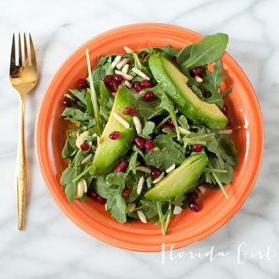 summer pommegranate arugula salad, salad, summer, summer salad, healthy, organic, homemade